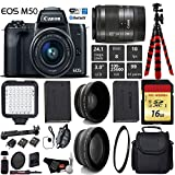 Canon EOS M50 Mirrorless Digital Camera with 15-45mm Lens + LED + UV FLD CPL Filter Kit + Wide Angle & Telephoto Lens + Camera Case + Tripod + Card Reader – International Version For Sale