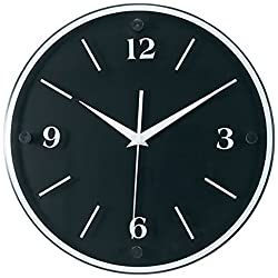 Tempus TC6011B Wall Clock with Wood Frame and Daylight Saving Time Auto-Adjust Movement, 12, Black