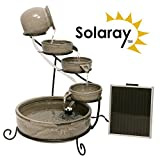 'Solaray Real Terracotta Earthenware Grey Solar 4 Tier Cascade Water Feature with Battery Backup and LED Lights '