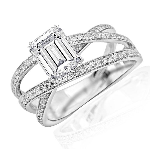 1 Carat Twisting Split Shank Criss Cross Contemporary Diamond Engagement Ring (H Color, VVS2 Clarity Center Stones) - Emerald Cut