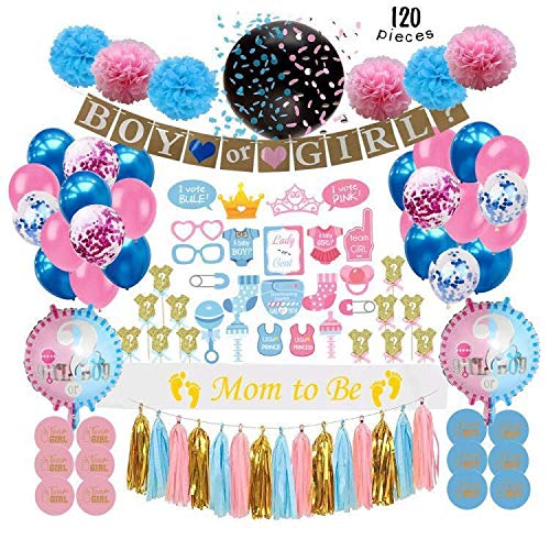 Gender Reveal Party Supplies (120 PCS) by Serene Selection, Baby Shower Decorations Kit, Confetti Pink Blue Balloons, Boy or Girl Banner, Cup Cake Toppers, Photo Booth Props, Tassels Set Pom Pom]()