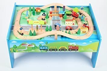 point kids set de train en bois avec table + 70 pièces, set de train complet bois