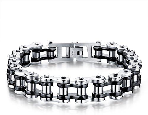 HuaQingPiJu-JP ファッションパーソナライズされたチェーンチタン鋼メンズブレスレットリストバンドバングル父の日のギフト(シルバーとブラック)