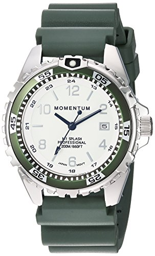 Momentum Women's Quartz Stainless Steel and Rubber Diving Watch, Color:Green (Model: 1M-DN11LK1K)