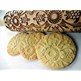 Rolling pin HAWAII. Wooden embossing rolling pin with Oriental flowers. Embossed cookies. Pottery. Birthday gift. Gift for mother