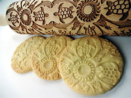 Embossed cookies Wooden embossing rolling pin with Hawaii pattern Birthday gift. Pottery Rolling pin HAWAII