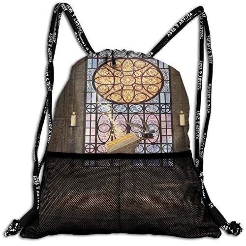 Drawstring Backpacks Bags,Lectern On Pentagram Symbol Medieval Architecture Candlelight In Dark Spell Altar,Adjustable