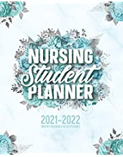 Nursing Student Planner 2021-2022 Monthly Calendar And Weekly Planner: 12 Month Agenda Inspirational Quotes Turquoise Floral Marble Nursing School Organizer July 2021-June 2022: Time Management Journal