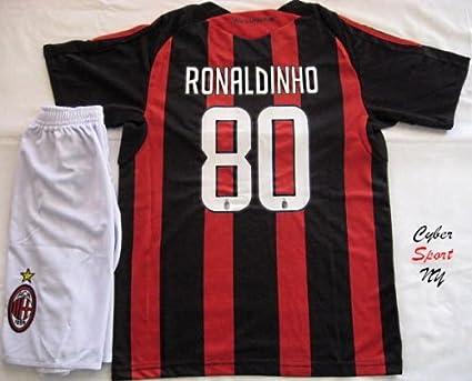 best service 25e13 777a8 Amazon.com : A.C. MILAN Soccer Jersey RONALDINHO Youth Size ...