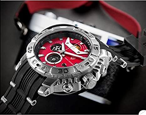 Amazon.com: PAGANI DESIGN Mens Multi-function 6 pointer Black Leather Band Red Dial Waterproof Quartz Wrist Watch: Watches
