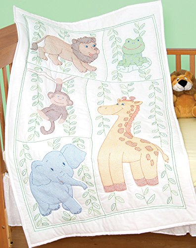 - Jack Dempsey Needle Art 406090 Crib Quilt, Top Jungle Fun, 40-Inch by 60-Inch, White