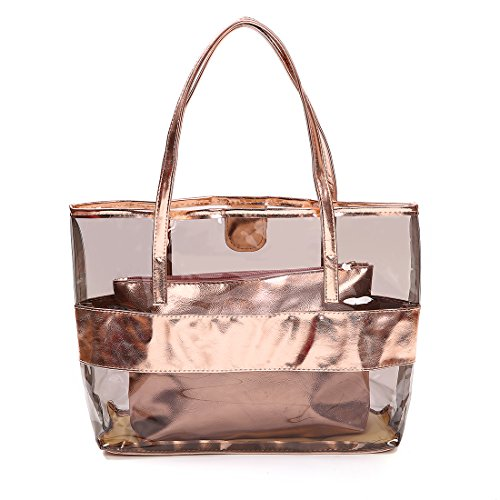 Gold Large Tote - FANCY LOVE Waterprof Semi-clear Tote Stripe Beach Shoulder Bag (Rose gold)