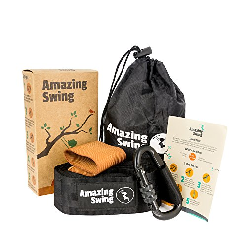 Extra Long (10 FT) Tree Swing Hanging Kit - Holds 1000 lbs. with Anti Breaking Cover & Safety Lock Carabiner + Detailed Hanging Instructions - Top Rated Nylon Swing Strap - Suitable for All Swings