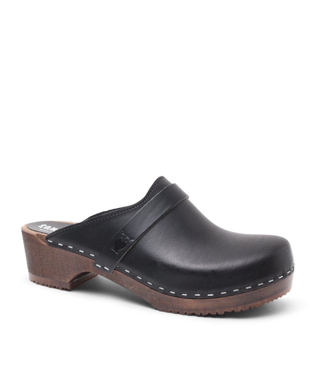 Sandgrens Swedish Low Heel Wooden Clog Mules For Women | Black Tokyo, Size US 9 EU 39