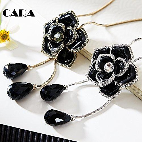 TKHNE /Kayla fine inlaid black onyx necklace pendant large peony Sea View large set sweater chain fashion chain ()