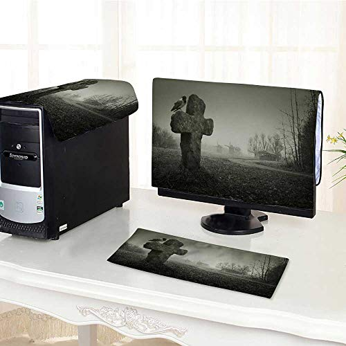 UHOO2018 Desktop Computer Cover 3 Pieces Scary Background for Halloween Grave with a Cross and The Raven Scratch Resistance /22