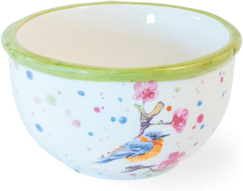 Boston International KAC20021 Spring Ceramic Bowl, 4.75 x 2.75, Bird and Cherry Blossoms