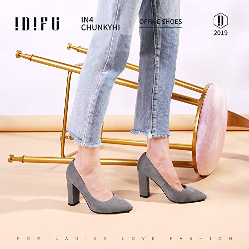 IDIFU Women's IN4 Chunky-HI Block High Heels Closed Pointed Toe Pumps Dress Office Shoes for Women