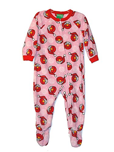 Sesame Street Toddler Girl's Santa Elmo Pink Fleece Footed Christmas Pajama Sleeper (2T), Pink, Size 2T]()