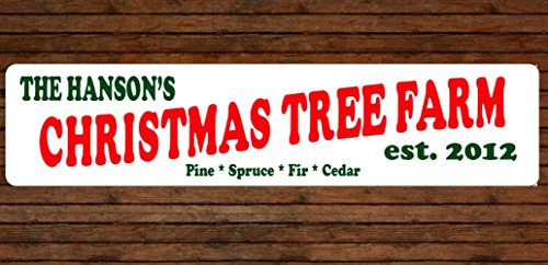 Personalized Christmas Tree Farm Aluminum Sign Indoor Outdoor Use ()