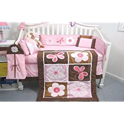 SoHo Pink and Brown Suede Baby Crib Nursery Bedding Set 13 pcs included Diaper Bag with Changing Pad & Bottle Case