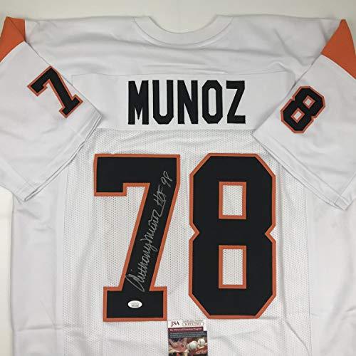 Autographed/Signed Anthony Munoz HOF 98 Cincinnati White Football Jersey JSA - Autographed Jersey