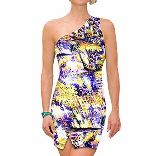 Dames Élégantes Une Épaule Courte Impression Mini Robe Moulante Partie Mince Clubwear Impression 8