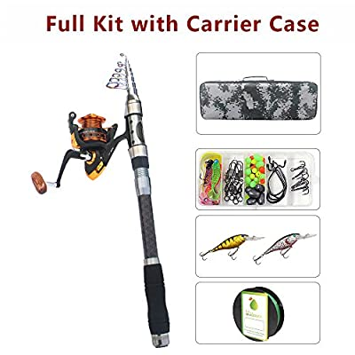 AGOOL Fishing Rod and Reel Combo Carbon Fiber Telescopic Spinning Portable Fishing Pole Fishing Gear with Line Lure Hooks Fishing Bag for Sea Saltwater Freshwater Boat Fishing