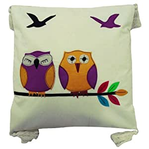 Designer White Pillow Case Owls Patchwork Cushion Cover 40cm Cotton Throw Decorative Gift India 16 Inches
