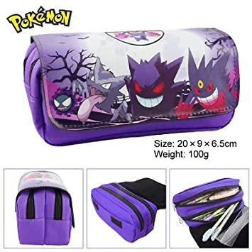Estuche para lápices de Pokemon de Gengar para niños, 2 compartimentos