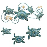 Regal Sea Turtle Wall Decor – Hand Painted Metal Wall Art – Ideal for Indoor & Outdoor Home Styling Needs - 4 Pieces