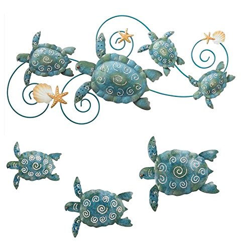 Regal Sea Turtle Wall Decor - Hand Painted Metal Wall Art - Ideal for Indoor & Outdoor Home Styling Needs - 4 Pieces
