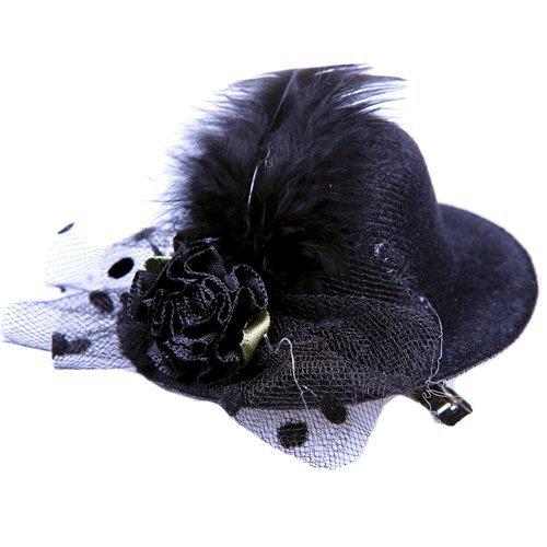 Anleolife Kids Hats Fascinators/Baby Mini Top Hat Hair Clip/Girls Hair Accessories Fascinator Party Hats Dancing Cocktail Feather Headband Hair Clip (Burlesque Dancing Costumes)