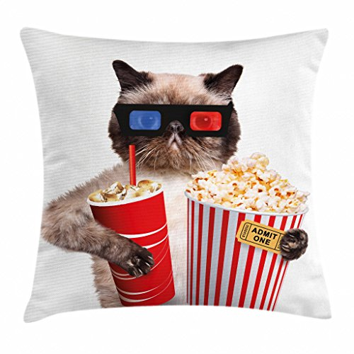 Ambesonne Movie Theater Decor Throw Pillow Cushion Cover, Cat with Popcorn and Drink Watching Movie Glasses Entertainment Cinema, Decorative Square Accent Pillow Case, 18 X 18 Inches, Multicolor