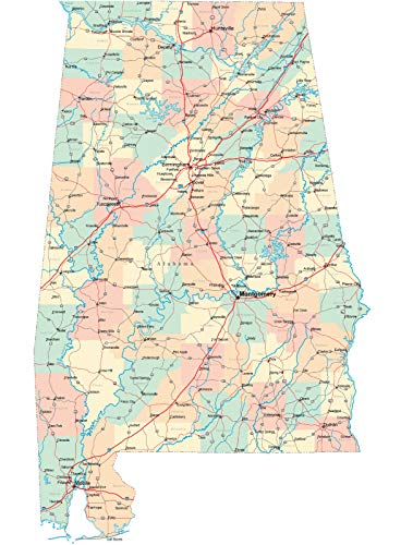 (Home Comforts Framed Art for Your Wall Alabama Road Map County City State Birmingham 10 x 13 Frame)
