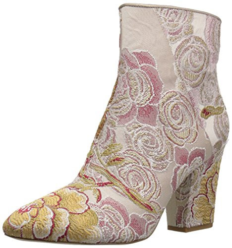 Nine West Women's Savitra Fabric Fashion Boot, Natural Red Multi/Light Taupe Fabric, 7 M US