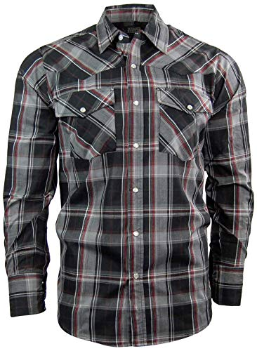 (Canyon Guide Men's Long Sleeve Plaid Western Shirt | Easy Open Snap Front (XX-Large, Black (610)))