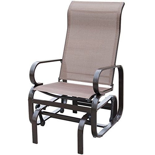 PatioPost Sling Glider Outdoor Patio Chair Textilene Mesh Fabric, Mocha - Aluminum Sling Glider