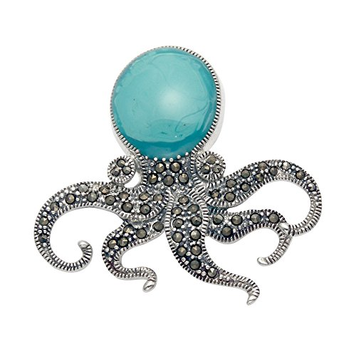 Sterling Silver & Marcasite Octopus Pin with Blue Enamel Body by Wild Things