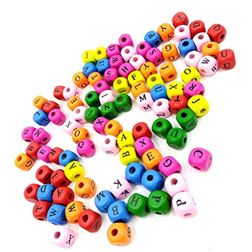 - Hot Sale! Hongxin 100Pcs/Pack Mix Colorful Square Shape Digital Number Wooden Beads Kids Creative DIY Handmade Beads for Jewelry Making 10X10mm (Multicolor)