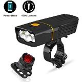 Sepper Luces para Bicicleta de montaña 1000 Lumen, USB Recargable, Power Bank, Linterna de Seguridad a Prueba de Agua…