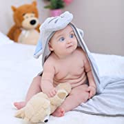 Bambino Super Absorbent Bamboo Terry Hooded Baby Towel - Grey Elephant with Blue Ears - 29.5 x 29.5 inches