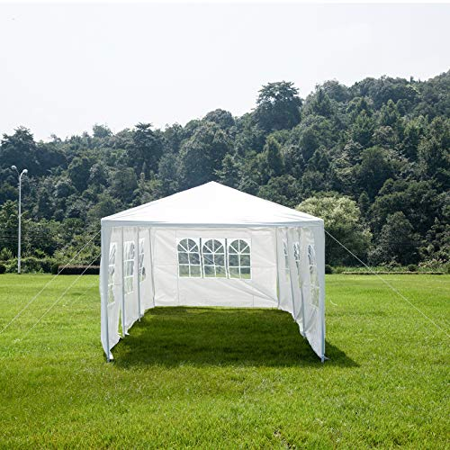 Uenjoy 10'x30' Party Tent Canopy Wedding Tent Event Tent Outdoor Gazebo White with 7 Sidewall