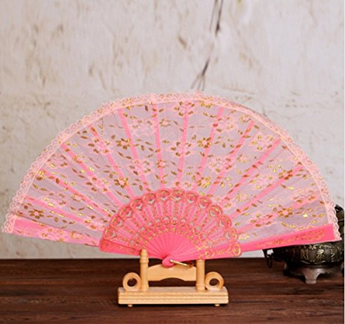 Pink Sequins Spanish Hand Fan Lace Fabric Dancing Folding Fan Party Decoration Fans Girls Women by Hand Fan