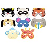 Gold Happy Foam Realistic Animal Masks Cartoon Kids Chileren Party Dress Up Costume Zoo Jungle Mask Halloween Party Decoration