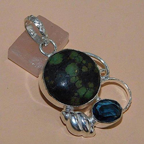 Mosaic Jasper, London Blue Topaz Hydro Pendant Silver Overlay Fashion Designer Jewelry 1.8 Inch Sale