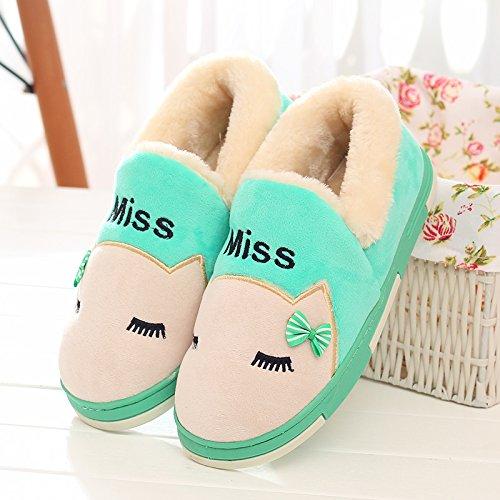Y-Hui zapatillas de algodón Bolsa con hombres de invierno Home Furnishing zapatos de suela gruesa Interior par M green