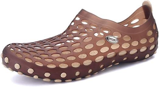 BBTK Zuecos Sandalias Jardín Playa Zapatos De Agua para Hombres Zuecos Sandalias Slip On Style Zapatos Perforados De Goma De Secado Rápido (Color : Marrón, tamaño : 38 EU): Amazon.es: Jardín