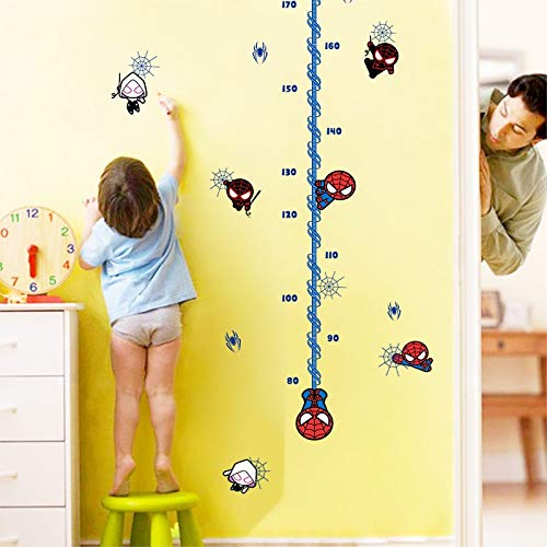 (Cartoon Spiderman Wall Stickers Growth Chart Boys Room Home Decoration Super Hero Mural Art Wall Decals Height Measure)