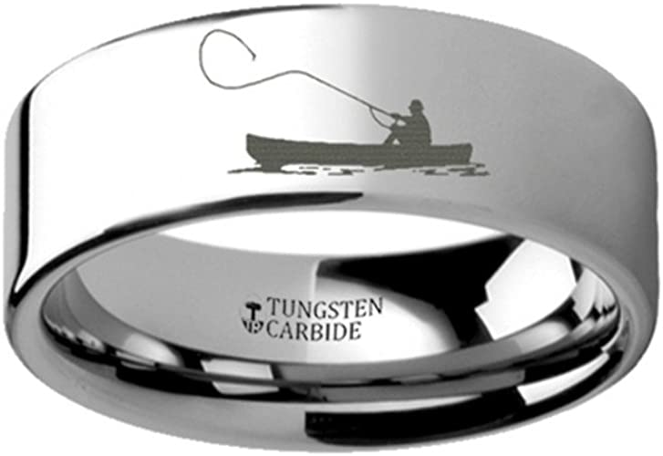 Thorsten Fly Fishing Boat Fisherman Design Sport Fishing Print Pattern Flat Tungsten Ring 6mm Wide Wedding Band from Roy Rose Jewelry